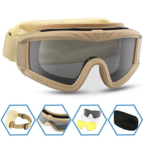 XAegis Airsoft Goggles, Tactical Safety Goggles Anti Fog Military Eyewear with 3 Interchangeable Lens for Paintball Riding Shooting Hunting Cycling - Tan