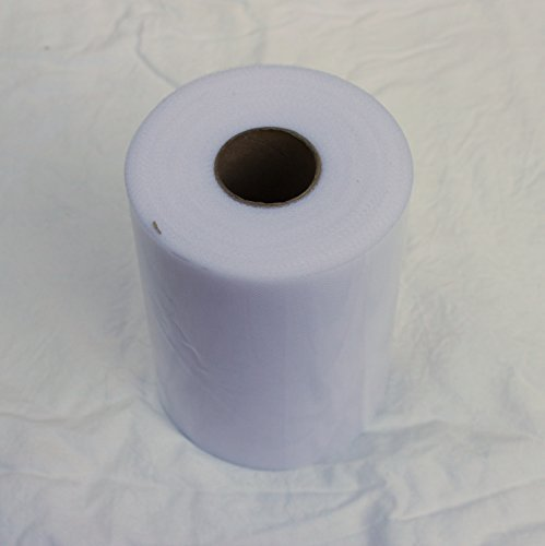 White Tulle Roll - 6 Inch X 100 Yard - Tulle for Decoration and Tutu Dresses - 100 Yard White Tulle