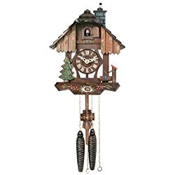 River City Clocks Chalet Style One Day Cuckoo Clock with Chimney Sweeper that Pops In and Out of the Chimney - 9 Inches Tall - Model # 22-09P
