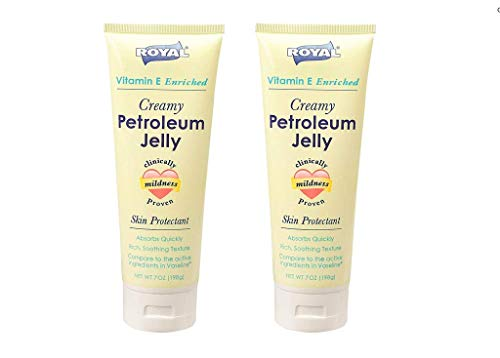 - ROYAL Vitamin E Enriched Creamy Petroleum Jelly Skin Protectant Absorbs Quickly, Rich, Soothing Texture 7 Oz. (2 Pack)