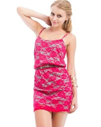 MOD 20 Women's Belted Lace Dress Fuchsia S(INK6441450)