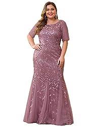 Plus Size Embroidery & Sequins Orchid Colour Maxi Dress