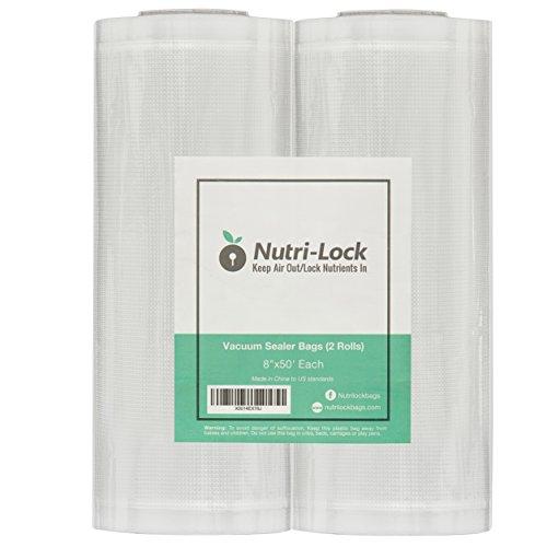 Nutri-Lock Vacuum Sealer Bags. 2 Pack 8x50 Commercial Grade Sealer Rolls for FoodSaver, Sous Vide - 3 Replacement Kenmore Bags
