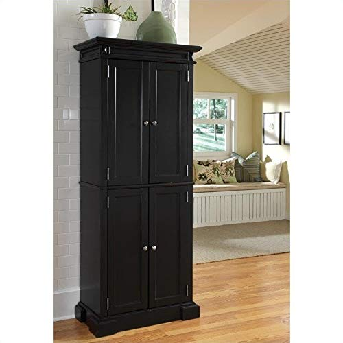 Home Styles Americana Freestanding Pantry in Black with Upper and Lower Storage Cabinets with Two Fixed Shelves and Four Adjustable Shelves, Constructed of Hardwood Solids