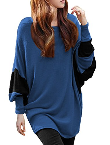 allegra-k-women-color-block-batwing-sleeves-loose-tunic-top-xl-blue
