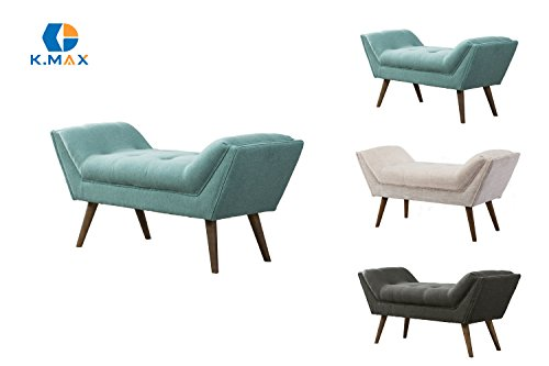(Tufted Upholstered Entryway Arm Bench, Velvet-Like Fabric Large Rectangular Footstool Rustic Vanity Bench with Rubber Wood Legs for Living Room/Bedroom/Dining Room/Hallway (Aqua)