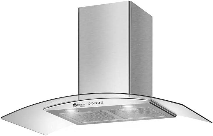 شفاط مطبخ زجاج 90سم قوة شفط 1200 ماطور المنيوم ايطالي