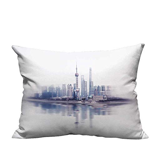 YouXianHome Decorative Couch Pillow Cases Financial Buildings in Shanghai, Lujiazui Easy to Wash(Double-Sided Printing) 12x16 inch