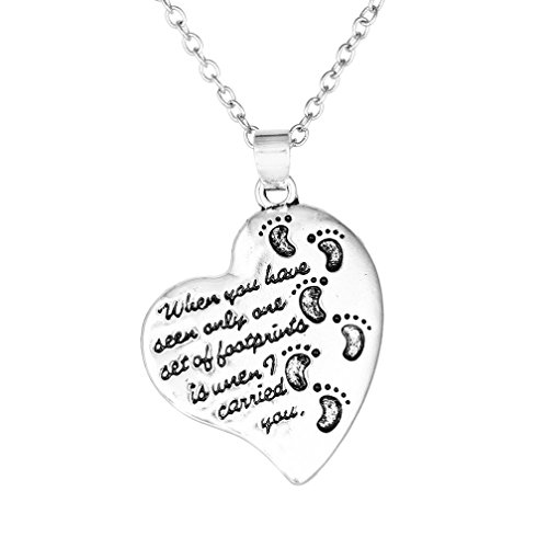 Loweryeah 1 Pc Silver Tone Heart Thimble Carved Footprint Pendant Necklace 45Cm