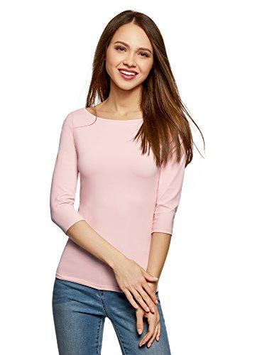 - oodji Collection Women's Basic 3/4 Sleeve T-Shirt, Pink, US 4/EU 38/S