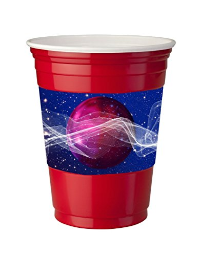 4 Pack Of Vinyl Decal Stickers For Disposable Cups   Sticker Skin Print Purple Ball Inspirational Waves Stars Printed Design