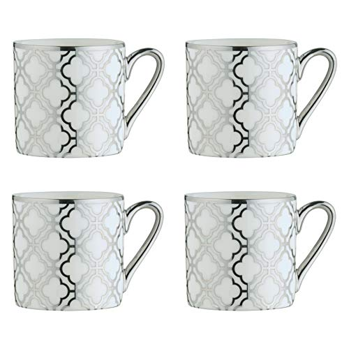 BIA 993012+1807PK4 Electroplated Mugs Espresso Cups, Porcelain, 100 milliliters
