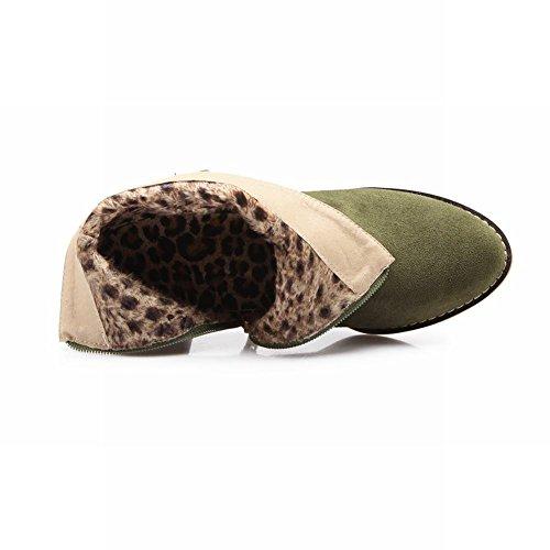 Carolbar Remache Para Mujer Moda Nubuck Tachonado Cremallera Medio Tacón Botas Cortas Ejército Verde