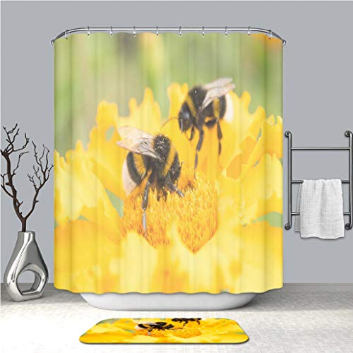 BEICICI Shower Curtain and Bath mat Rug Bumblebee on a Yellow Flower collects Pollen Selective Focus_ Custom Stylish,Waterproof,Bathroom Set