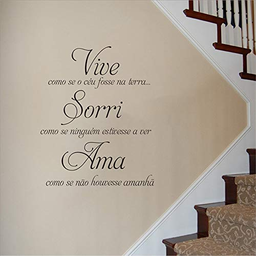 Vinyl Decal Quote Art Wall Sticker Mirror Decal Home Decoration Portuguese Home Vive Como Se O Ceu Fosse Na Terra for Portuguese
