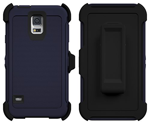Galaxy S5 Case, ToughBox® [Armor Series] [Shock Proof] [Navy Blue| Black] for Samsung Galaxy S5 Case [Built in Screen Protector] [With Holster & Belt Clip] [Fits OtterBox Defender Series Belt Clip]