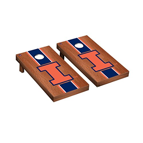 (Victory Tailgate Illinois Fighting Illini Regulation Cornhole Game Set Rosewood Stained Stripe)