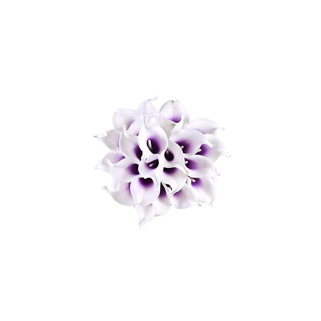 Veryhome 20pcs Lifelike Artificial Calla Lily Flowers for DIY Bridal Wedding Bouquet Centerpieces Home Decor (Purple White)