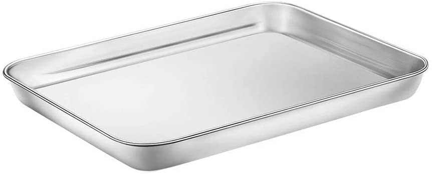 WEZVIX Baking Sheet Stainless Steel Baking Tray Cookie Sheet Oven Pan Rectangle Size 10 x 8 x 1 inch, Non Toxic & Healthy, Rust Free & Less Stick, Thick & Sturdy, Easy Clean & Dishwasher Safe