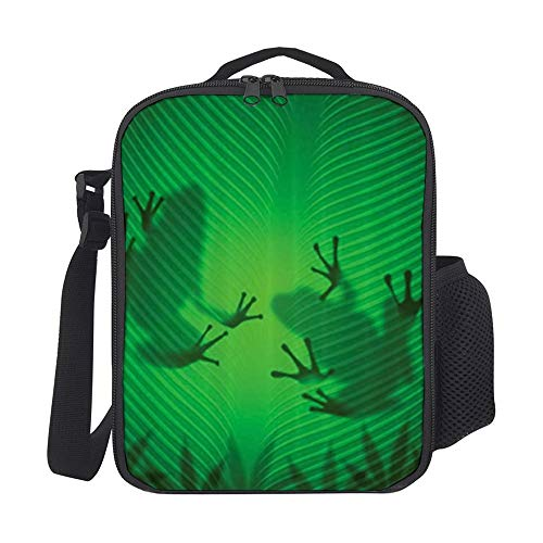 SARA NELL Kids Lunch Backpack Lunch Box Frog Shadow Silhouette On The Banana Tree Leaf In Tropical Lands Jungle Lunch Bag Large Lunch Boxes Cooler Meal Prep Lunch Tote With Shoulder Strap For Kids