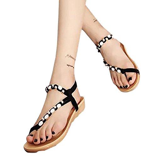FAMILIZO Bohemia Chanclas Sandalias, Zapatos Planos de Mujer Zapatos de Peep-Toe de Las Sandalias del Ocio Moldeadas (36, Rojo)