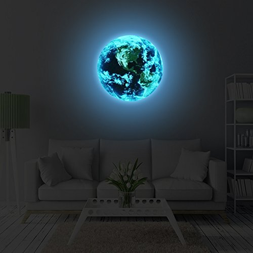 WANGZHIMING Removable 3D Luminous blue light Earth American plate Pattern Self-adhesive DIY Glowing Planets Wall Sticker for Kids' Room Nursery Living Room Home Decoraions
