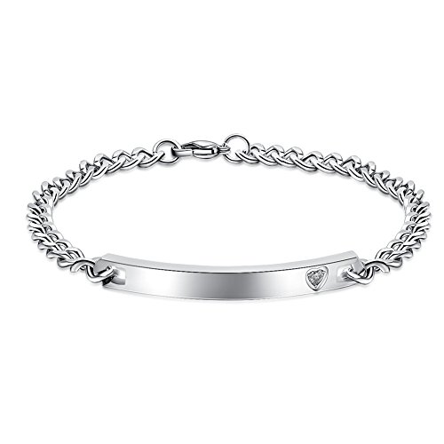 NEHZUS His and Hers Stainless Steel Personalized Bracelet Custom Engraving (Silver Custom Bracelets)