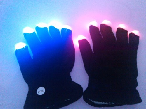 [Firefly LED with Colorful Flashing Light-emitting Dancing Gloves Black] (Firefly Kids Costumes)