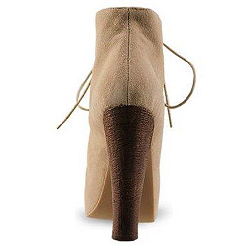haut Nilkka Korkeakorkoiset Mokka Pu Naisten Nauhakenkien Aprikoosi Chaussures Alustan Kengät Talon AXaw8gq