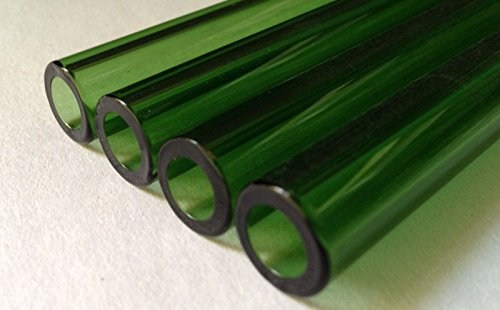 """SM NEW 12 mm OD 8mm ID Pyrex Glass Blowing Colored Tubing (4 Pcs) Green 6 """" LONG"""