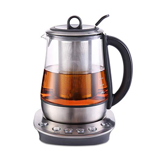 Hot Tea Maker 1.2L, Glass Stainless Steel Electric Kettle, Removeable Tea Infuser Included, Auto Keep Warm