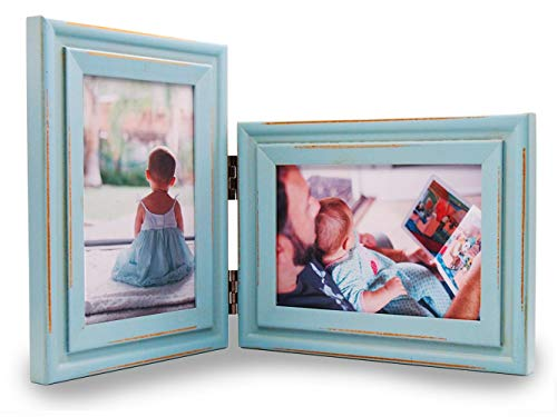 Alexbasic Wood Picture Frame Double 4x6 Hinged Picture Frame Desktop