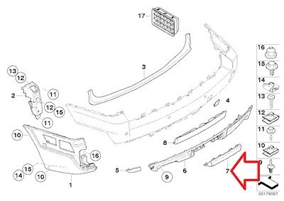 BMW Genuine Rear Bumper Cover Flap - Trim Flap for Trailer Hitch Mount for X3 3.0i X3 3.0si