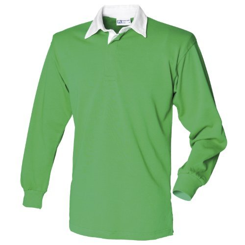Front Row Long sleeve plain rugby shirt Bright Green/White L ()
