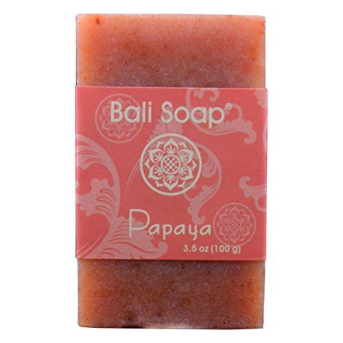 Bali Soap - Papaya Natural Soap Bar, Face or Body Soap Best for All Skin Types, For Women, Men & Teens, Pack of 3, 3.5 Oz each ()