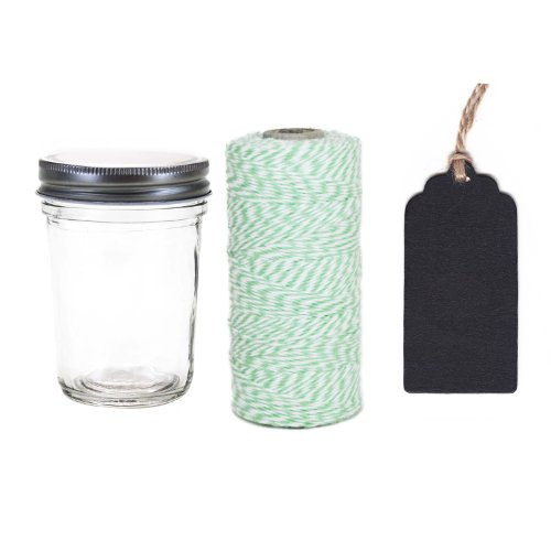 Dress My Cupcake 12-Pack Favor Kit, Includes Vintage Glass Half Pint 8-Ounce Mason Jars and Twine/Chalkboard Gift Tag, Mint Green