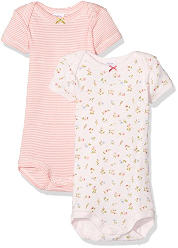 Petit Bateau Girls 2 Pack Short Sleeves Bodysuits Style 25894 Sizes 3-24/M (Size 24/M Style 25894 Girls Bodysuit) ()