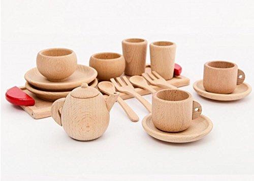 WellieSTR Beech Wood Play Tea set Simulation children tea sets toys wood color sets girls boys home kitchenware baby Kids gifts