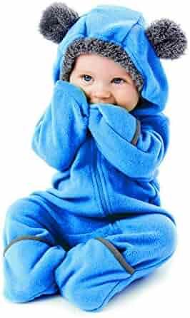 Funzies Fleece Baby Bunting Onesie Jacket – Infant Pajamas Winter Outerwear Coat Costume