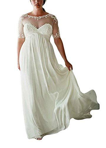 DreHouse Women's Chiffon Vintage Beach Wedding Dresses with Half Sleeves Plus Size Ivory