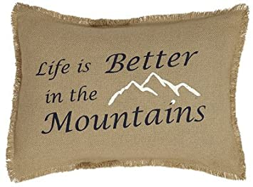 Burlap Natural Pillow Cover Life Is Better In The Mountains 14x18