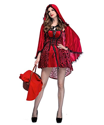Women Red Riding Hood Costume Queen Witch Fancy Dress Cosplay For Halloween (Evil Red Riding Hood Halloween Costume)