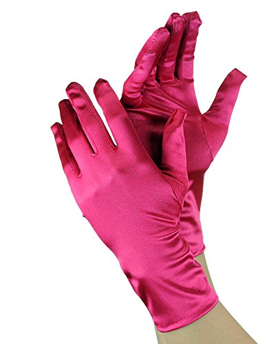 (NYFASHION101 Solid Color Classy Elegant Formal Wrist Length Satin Gloves, Dark Fuchsia )