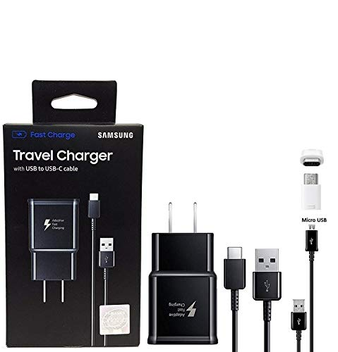Offical OEM Samsung Adaptive Fast Charging Charger - for Samsung Galaxy S8/S8 plus/Note8 and Car Charger (US Retail Packing Kit) (Sprint Samsung Tab White 3)