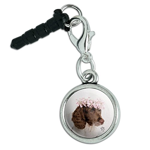 Springer Spaniel Dog Flower Blossom Tiara Mobile Cell Phone Headphone Jack Anti-Dust Charm fits iPhone iPod Galaxy