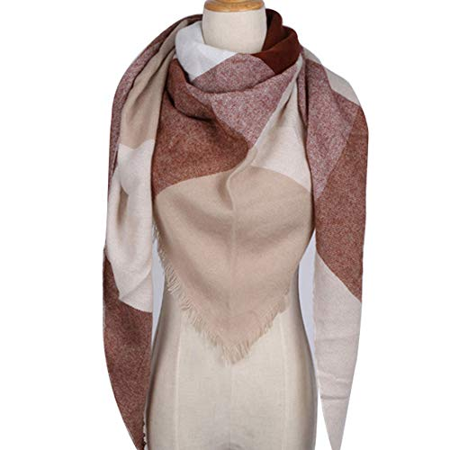 (MJ-Young Winter Triangle Scarf For Women Designer Shawl Cashmere Plaid Scarves Blanket Triangle brown onesize)