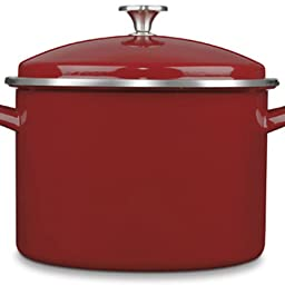 Cuisinart EOS106-28R Chef's Classic Enamel Stockpot with Cover, 10-Quart, Red