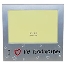 "I Love My Godmother ' - Expressions Photo Picture Frame Gift - 5 x 3.5 "" - Brushed Aluminium Satin Silver Color"