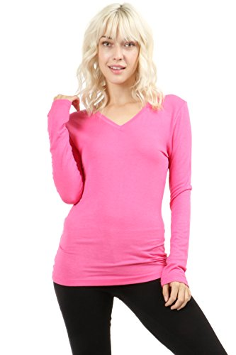 ZENANA OUTFITTERS RAYON V-NECK LONG-SLEEVE TEE