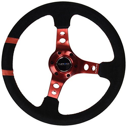 NRG Innovations RST-016S-RD Race Style 350mm Suede Sport Ste
